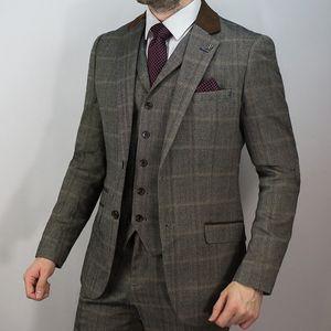 Brown Mens Smoking Do Casamento 2019 Lapela Entalhado Dois Botão Do Noivo Calças Ternos Custom Made Bonito 3 Peças Melhores Homens Blazer