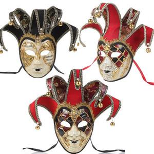 Tam Yüz Erkekler kadınlar Venedikli Tiyatrosu Jester çatlak Masquerade Maske Bells ile Mardi Gras Parti Balo Cadılar Bayramı Cosplay kostüm 3 stilleri Maske