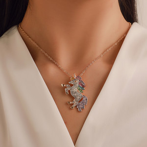 Hot Fashion Jewelry Colorful Rhinstone Unicorn Pendant Necklace Womens Pony Chokers Necklace S775