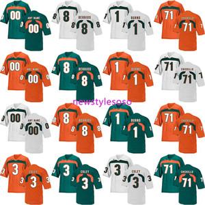 2019 NCAA Футбол Майами Ураганы 8 Берриос 1 Бернс 71 Chickillo 3 Коли трикотажных изделий