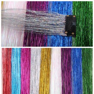 Glitter Hair Tinsel Sparkling Bling Rainbow False Hair Strands Highlight Synthetic Extension Clip Hairpiece For Lady Women Party Fast F2729