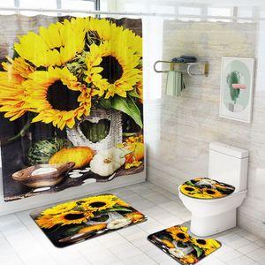 Бытовой Подсолнух Мягкий Non Slip Коврики Для Ванной Набор 3 Шт. Моющийся Туалетный Коврик