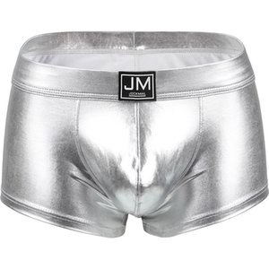 4 couleurs de Sous-vêtements sexy hommes Boxer PU hommes gais en cuir sous-vêtements pénis hommes boxeur poche cueca boxeur masculina glissement Pour les hommes LGBT