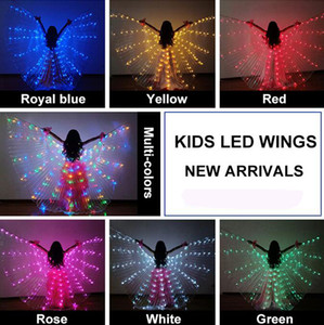 2019 Children LED Isis Wings Belly Dance Accessories Kids LED Wings With Sticks Egyptian Stage Performance Kids DJ Dress