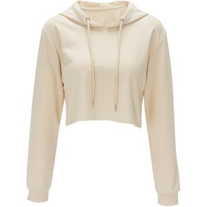 2020 women's clothing soft hoodie pullover solid color exposed navel short hooded long-sleeved sports thin sweater mixed loose sweatshirt