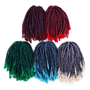 Colorful Synthetic Ombre Burgundy spring twist crochet braids hair extension bulk Freetress meche crochet braid hair bundles for black women