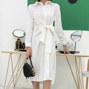 YAMDI partido clube vestido midi noite mulheres camisa de manga longa vestido elegante verão do vintage uma linha branca sólida pista 2020
