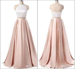 Женщины Холтер декольте из двух частей A-линии атласная платье длиной до пола длинное вечернее платье 2020 Сексуальное официально платье невесты без рукавов