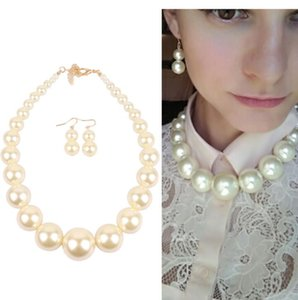Quick delivery Quality Necklace Earrings Fashion Big Pearl Necklace Women luxury jewelry necklaces Suit Necklace of clavicle Christmas gift