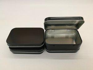 New Arrival black hinge tin box Rectangle gift box sealing plain tin 95x60x21mm 100 pcs
