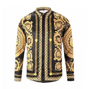 Camicie eleganti da uomo di lusso Francia Camicie casual eleganti da uomo Harajuku Camicie eleganti slim fit Medusa nero oro