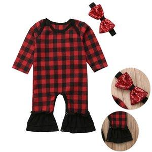 Weihnachten Baby Body Neugeborenes Baby-Bekleidung Red Plaid-Rüsche Hosen Strampler Langarm-Overall + Sequind Bow Stirnband 0-24M