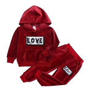 Nuevas sudaderas 2020 Velvet + pantalones Set de 2 unidades para niños de la ropa de las muchachas de los niños del niño del traje del chándal trajes ropa de bebé de los niños