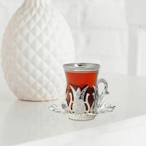 Handmade Ouro Prata Árabe Turco copos de chá e pires Set para seis pessoas