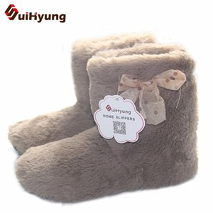 Suihyung Hot Women Home Slippers Winter Warm Plush Indoor Shoes Comfortable Solid Flock Ladies House Floor Cotton Slip On Botas