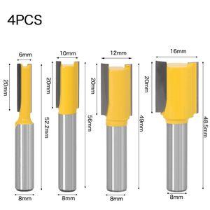 """4PCS recto / Dado Router Bit - 3/8 """"W x 20"""" H -8"""" vástago de la fresa de carburo de tungsteno de madera Router broca de la herramienta Carpintería"""
