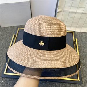 Petites abeilles plage Cap de luxe de la rue Chapeaux Bonnets Casquettes femme pour l'été marque pour femmes Hat large plage Hat Brim 4 couleurs disponibles