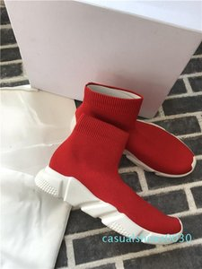 HOT Designer Vitesse formateur de luxe à la mode Chaussures Femmes Chaussures Hommes Casual ALL Knit Red Flat Speed ​​Mode Chaussettes Chaussures Mode Formateurs c30