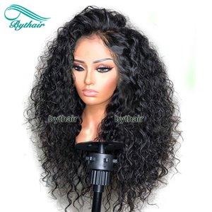 브라질 버진 인간의 머리카락 전체 밀도 360 레이스 정면 가발 곱슬 사전 뽑아 13x4 레이스 프런트 가발 흑인 여성의 아기 머리카락