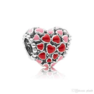 Authentic 925 Sterling Silver Red enamel Love Heart Charms Original box for Pandora European Bead Charms Bracelet jewelry making accessories