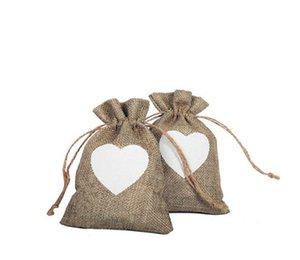 Natale cuore della tela da coulisse regalo borsa- 10x 15 centimetri Sacchetti Gioielli per le nozze e favori di partito, il mestiere di DIY, regali, Christmasi
