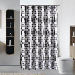 Black+white+gray Plaid Bathtub Bathroom Fabric Shower Curtain Waterproof Mildewproof With 12 Hooks Bath Curtains 200X200cm