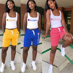 Kadın Şampiyonlar Mektup Kolsuz T Gömlek Yelek Şort Pantolon Yaz Eşofman Kıyafet 2 Parça Set Spor Spor Yoga Spor Takım Elbise A4801 S-3XL