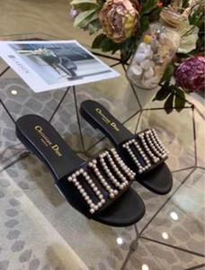 sandálias de praia marca sandálias de grife da moda verão 2020 as mulheres grossa com solado de chinelos chinelos Lady pérola