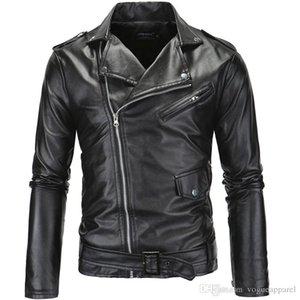 Mens Streetwear PU Leather Jackets Metal Buttons Zipper Biker Jackets Black White Winter Windbreaker Free Shipping
