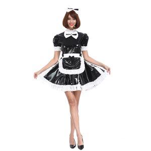 Costume cosplay crossdress Black Dress Sissy Ragazze domestica Lovely Bow serratura PVC