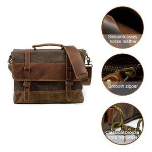 Imido ноутбук кожаная сумка сумка холст водонепроницаемый компьютер вощеный холст винтажный портфель кожа 15,6 мужской дюймовый тратч Fodoo