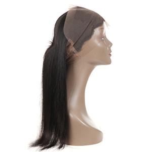 360 Dantel Frontal Kapatma Hint Düz Saç 360 Frontal Kapatma ile Bebek Saç Remy% 100 İnsan Saç Uzatma