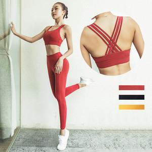 2020 neue Yoga-Anzug Anzug europäischen und amerikanischen Frauen Quer Schönheit zurück Shirt schnell trocknende Kleidung Strumpfhosen Frauen zweiteilige