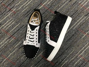 Xshfbcl New designer shoes Studded Spikes fashion Red suede leather Mens Womens flat bottoms lusso shoes Party Lovers Sneakers size 36-47