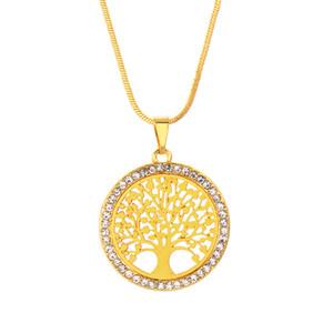 Heißer Baum des Lebens Kristall Runde Kleine Anhänger Halskette Gold Silber Farben Elegante Frauen Schmuck Geschenke Dropshipping