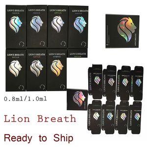 Lions Breath Vapes Cartridges 0.8ml1.0ml Vaporizer Ceramic Coil Packaging Vape Pens 510 Thread Oil Carts E Cigarette Round Press Tip Instock