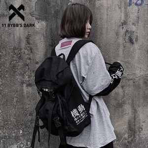 11 BYBB'S DARK Hip Hop Backpack Men Women Canvas Ribbon Streetwear School Bag Multifunction Travel Bags Harajuku Backpacks