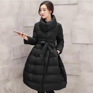 Женщины пуховые Parkas Хлопок толстые 2021 одежда длинная секция теплая петтикелка талия большая слов сладкая одежда