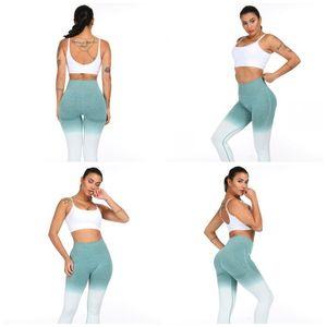Taille élastique Gym pantalons Dégradés couleur Puch HIP Yoga Fitness Porter un pantalon mince exercice leggings Fit Vêtement Mode E19