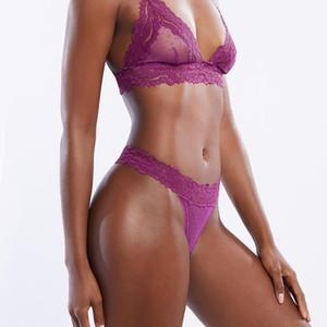 New Lace Mesh Bra Set Femme Sexy Lingerie Set Transparent Dot Bralet femmes Push Up T Brassiere Retour Culotte Ensembles Backless col en V