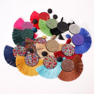 Nuovo Bohemian perline nappa Orecchini Donna Moda creativa Fan orecchini di goccia Spot Colorful Strass ciondola 14 colori all'ingrosso
