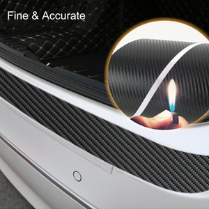 Universal Trunk Rear Guard Plate Sticker Car Rear Bumper Trim Anti-Kicked Scratch Protection Sticker Strip 3D Carbon Fiber Film