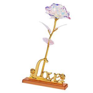 Eternity Gül Gökkuşağı Sevgililer Günü Güzel 24 K Altın Varak Çiçek Parti Romantik Drop Shipping