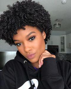 BUY este penteado curto peruca curly crespo cabelo brasileiro Africano Ameri Simulação cabelo humano curto kinky curly peruca cheia em estoque