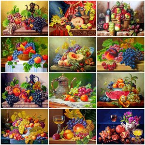 AZQSD Unframe Fruits Diy Oil Painting By Numbers Vintage Acrylic Paint On Canvas Handpainted Unique Gift For Home Decoration