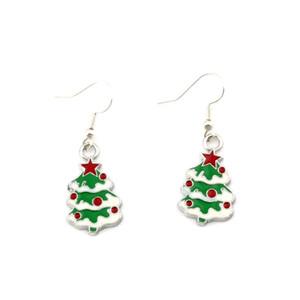 Green Enamel Christmas tree Earrings Silver Fish Ear Hook 10pairs lot Antique Silver Chandelier Jewelry 42x15mm