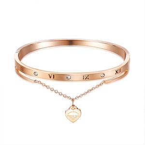 패션 명품 디자이너 아름다운 반짝이는 다이아몬드 지르콘의 심장 매력은 17cm는 골드 티타늄 강철 장미 여성 여자를위한 팔찌를 팔찌