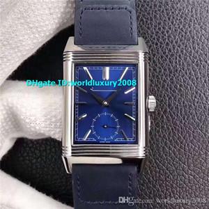 En Dikdörtgen Reverso Tribute Erkek İzle 316L Paslanmaz Çelik Safir Kristal 854A-2 Otomatik Mavi Dial Tasarımcı İsviçre İzle
