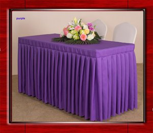 4feet 6feet 8feet 100% Polyester Plain Table Skirt Pleated Tablecloth Cover with topper for Wedding Party Meeting Decor Hotel