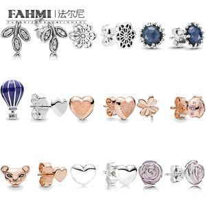 Fahmi 100% 925 Sterlingsilber-Herz-Marienkäfer Lioness Garten Midnight Star Blätter Luftballon Frauen Charm Fashion Jewelry